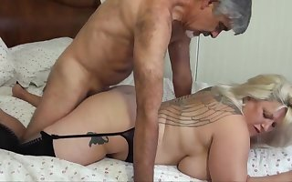 Blondie bbw with humungous funbags is yelling from delectation while getting plumbed, from the back